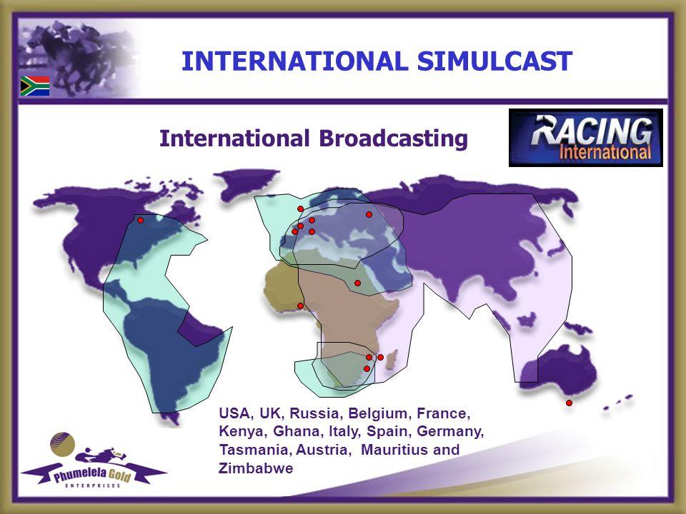 INTERNATIONAL SIMULCAST International Broadcasting USA, UK, Russia, Belgium, France, Kenya, Ghana, Italy, Spain, Germany, Tasmania, Austria, Mauritius and Zimbabwe