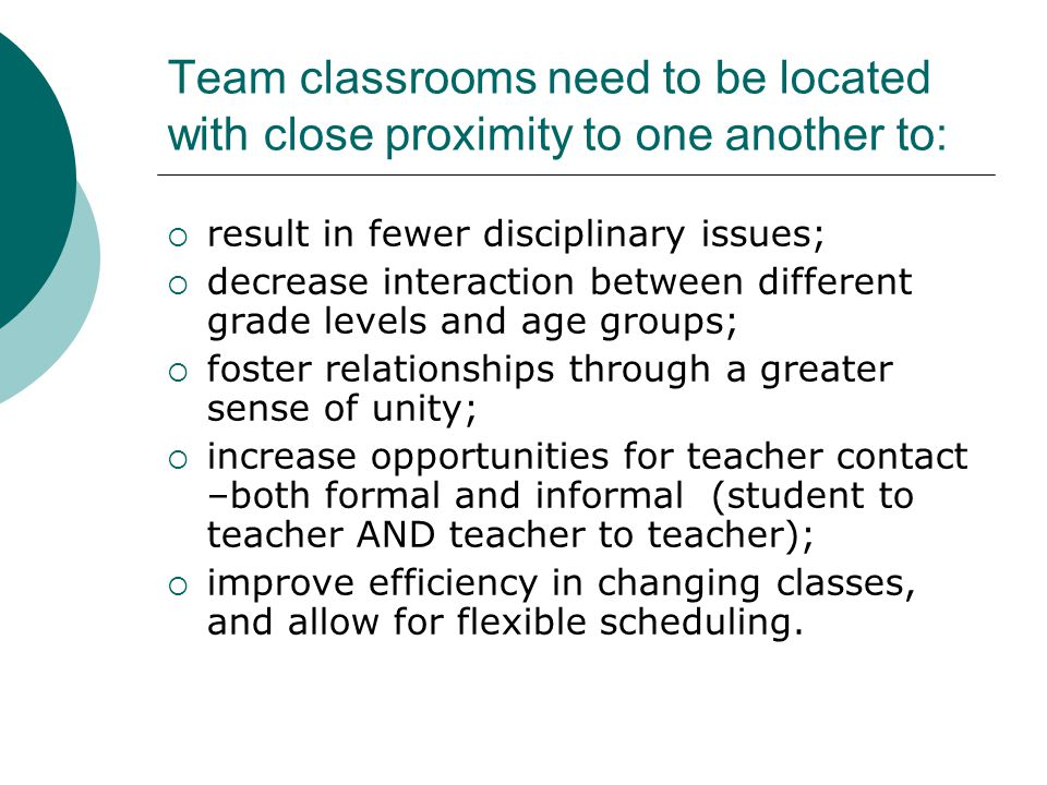 Team classrooms need to be located with close proximity to one another to: result in fewer disciplinary issues; decrease interaction between different