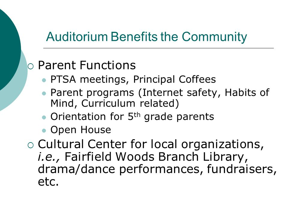 Auditorium Benefits the Community Parent Functions PTSA meetings, Principal Coffees Parent programs (Internet safety, Habits of Mind, Curriculum related) Orientation for 5 th grade parents Open House Cultural Center for local organizations, i.e., Fairfield Woods Branch Library, drama/dance performances, fundraisers, etc.