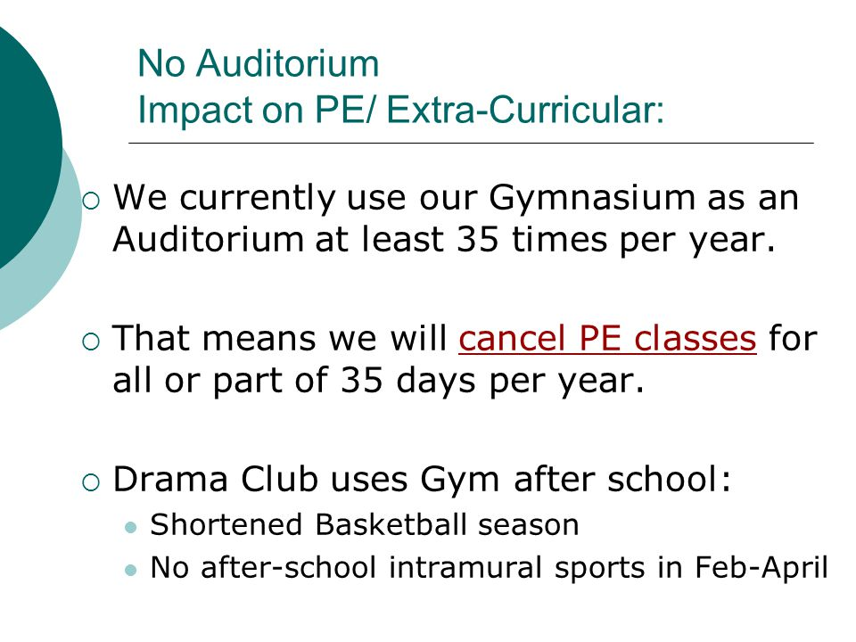 No Auditorium Impact on PE/ Extra-Curricular: We currently use our Gymnasium as an Auditorium at least 35 times per year. That means we will cancel PE