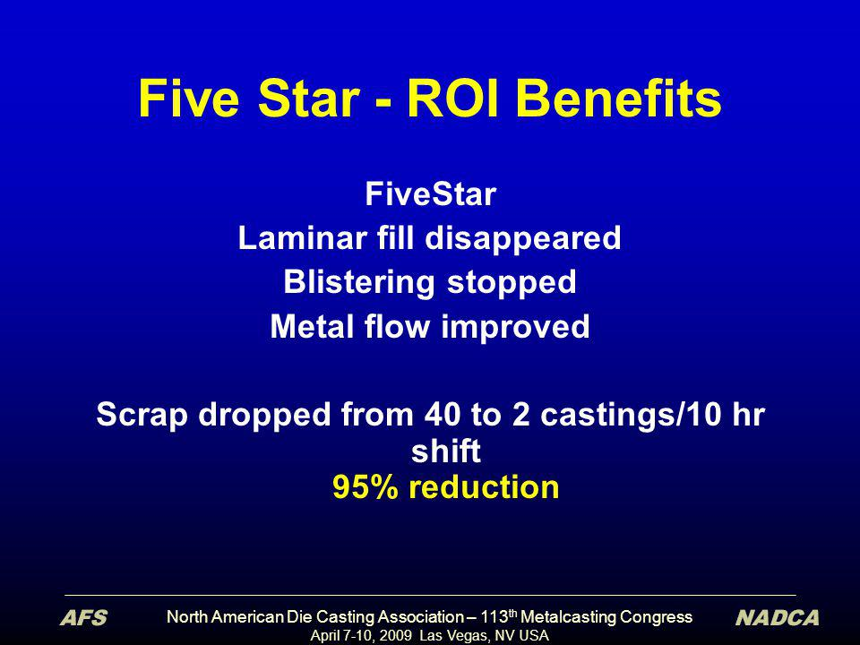 North American Die Casting Association – 113 th Metalcasting Congress April 7-10, 2009 Las Vegas, NV USA Five Star - ROI Benefits FiveStar Laminar fil