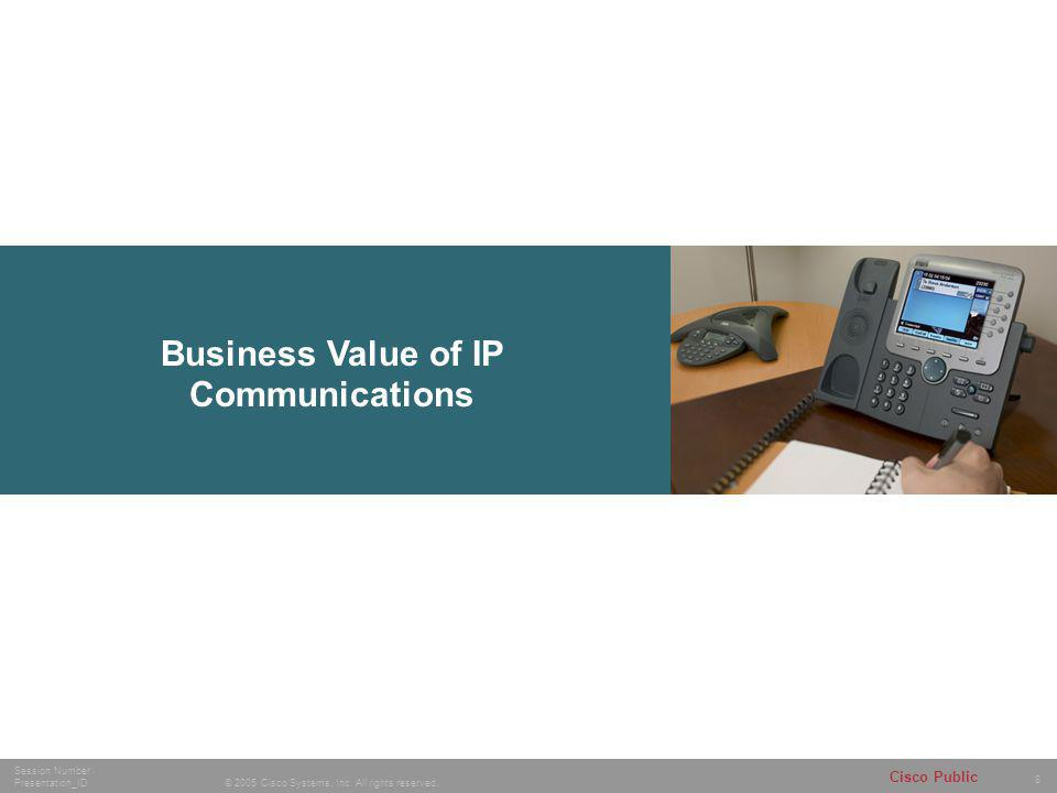 8 © 2005 Cisco Systems, Inc. All rights reserved. Session Number Presentation_ID Cisco Public Business Value of IP Communications