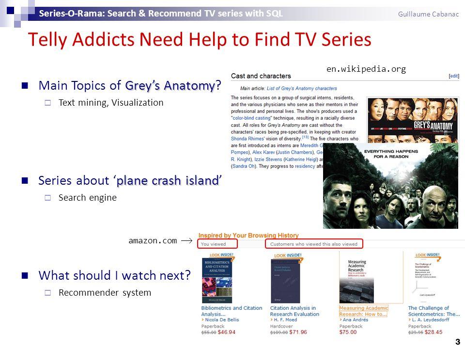 en.wikipedia.org Telly Addicts Need Help to Find TV Series Greys Anatomy Main Topics of Greys Anatomy? Text mining, Visualization plane crash island S