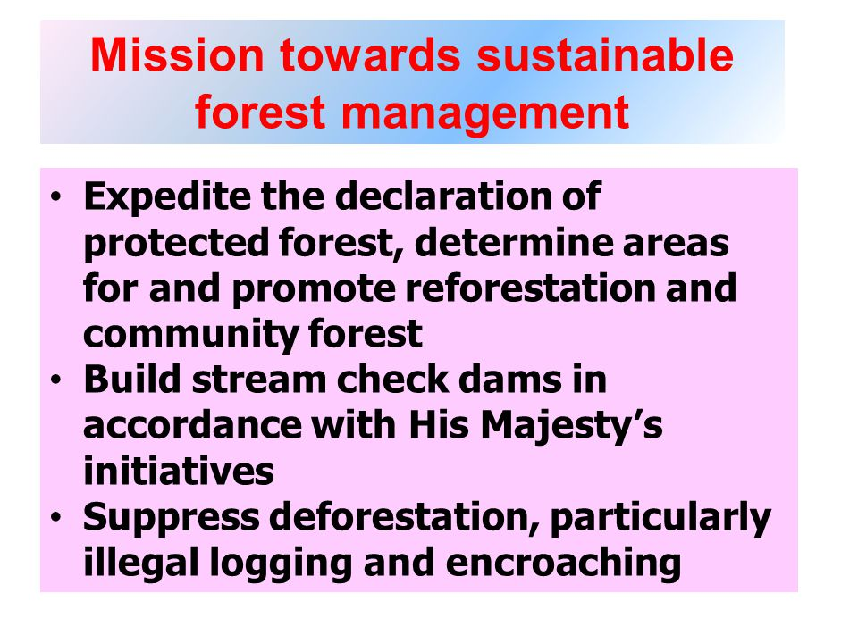 Mission towards sustainable forest management Expedite the declaration of protected forest, determine areas for and promote reforestation and community forest Build stream check dams in accordance with His Majestys initiatives Suppress deforestation, particularly illegal logging and encroaching