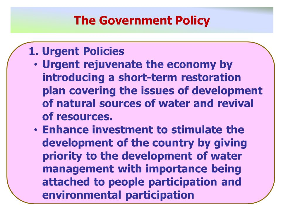 The Government Policy 1.