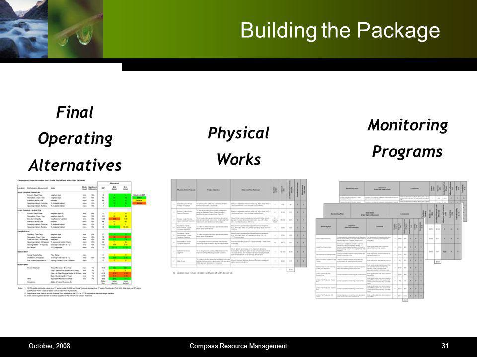 31 Building the Package Monitoring Programs Physical Works Final Operating Alternatives Compass Resource ManagementOctober, 2008