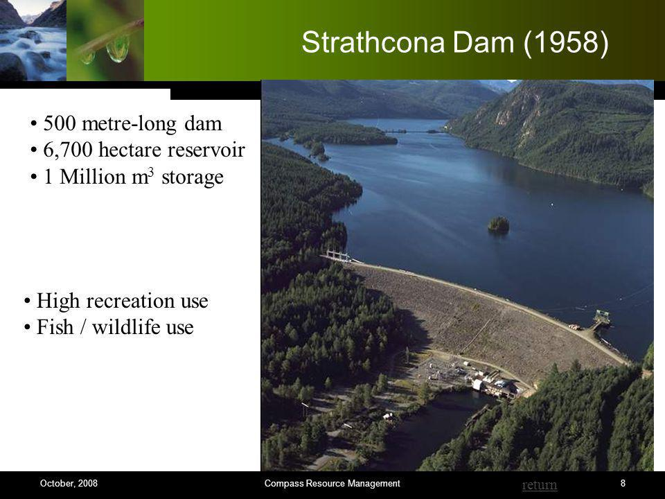 8 Strathcona Dam (1958) High recreation use Fish / wildlife use 500 metre-long dam 6,700 hectare reservoir 1 Million m 3 storage return Compass Resource ManagementOctober, 2008