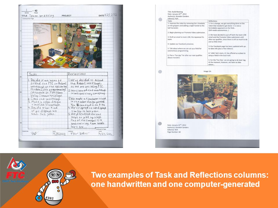 Two examples of Task and Reflections columns: one handwritten and one computer-generated