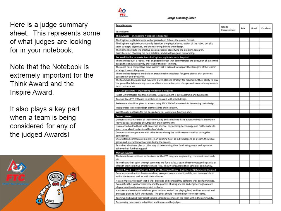 Here is a judge summary sheet. This represents some of what judges are looking for in your notebook. Note that the Notebook is extremely important for