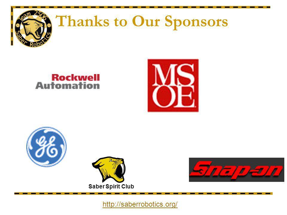 Thanks to Our Sponsors Saber Spirit Club http://saberrobotics.org/