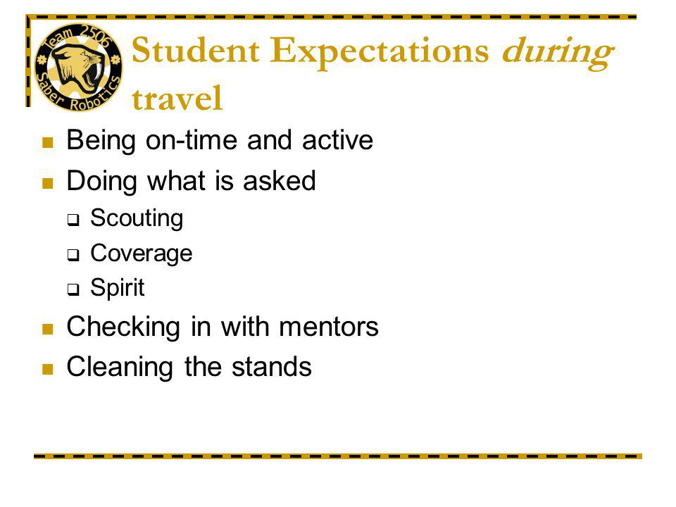 Student Expectations during travel Being on-time and active Doing what is asked Scouting Coverage Spirit Checking in with mentors Cleaning the stands