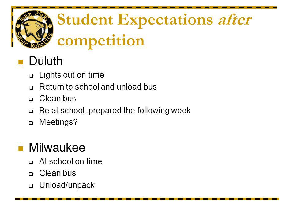 Student Expectations after competition Duluth Lights out on time Return to school and unload bus Clean bus Be at school, prepared the following week Meetings.