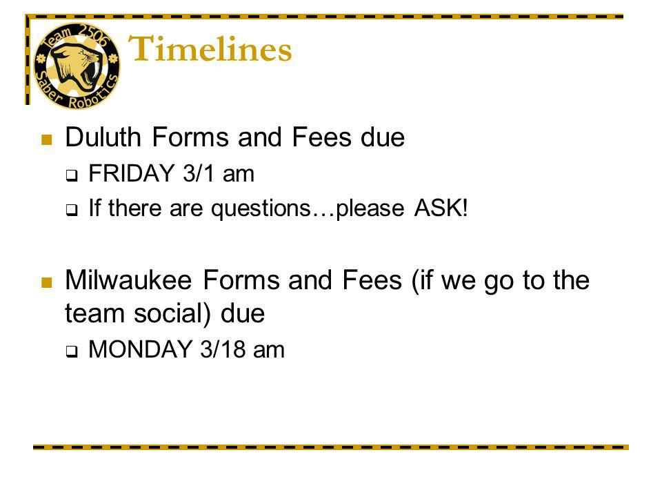 Timelines Duluth Forms and Fees due FRIDAY 3/1 am If there are questions…please ASK.