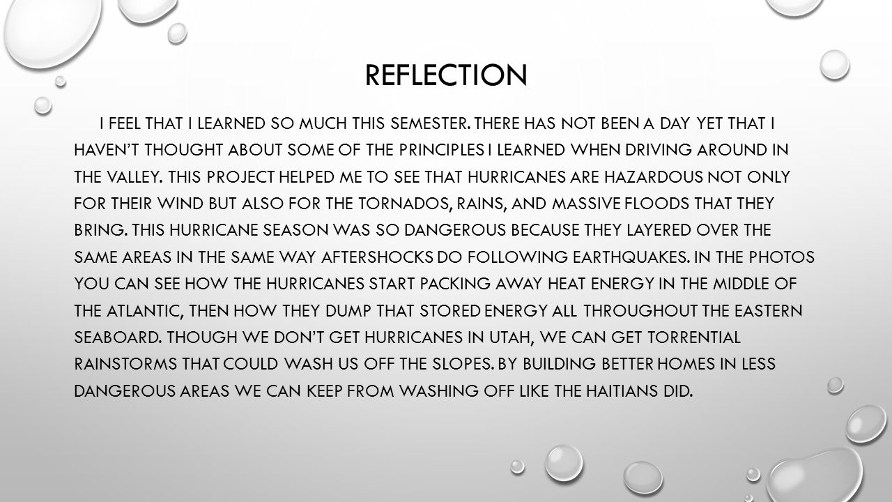 REFLECTION I FEEL THAT I LEARNED SO MUCH THIS SEMESTER.