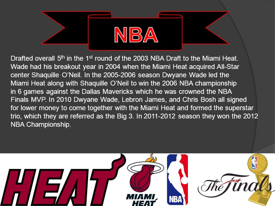 2× NBA champion (2006, 2012) NBA Finals MVP (2006) 8× NBA All-Star (2005–2012) NBA scoring champion (2009) NBA All-Rookie First Team (2004) Miami Heat all-time leading scorer #3 retired by Marquette