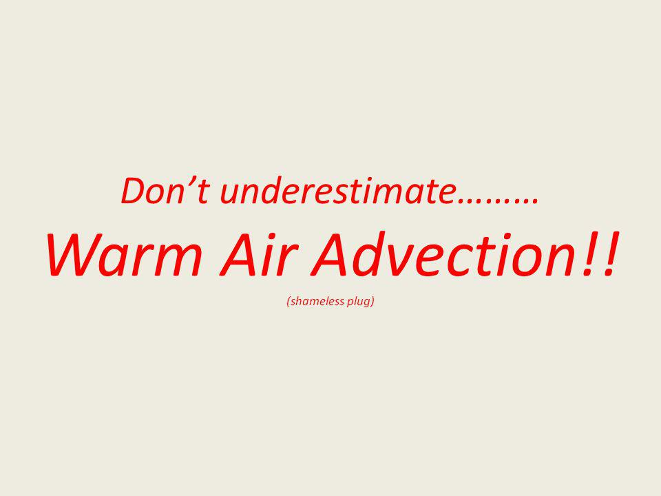 Dont underestimate……… Warm Air Advection!! (shameless plug)