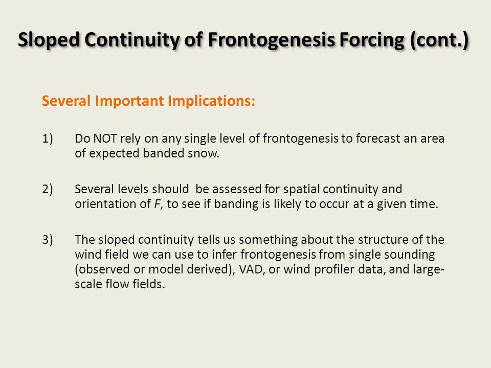 Sloped Continuity of Frontogenesis Forcing (cont.) Several Important Implications: 1)Do NOT rely on any single level of frontogenesis to forecast an area of expected banded snow.