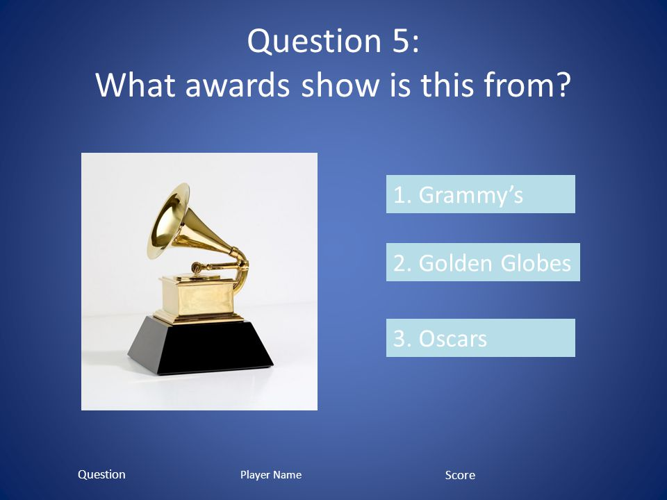Question 5: What awards show is this from? 1. Grammys 2. Golden Globes 3. Oscars Question Score Player Name