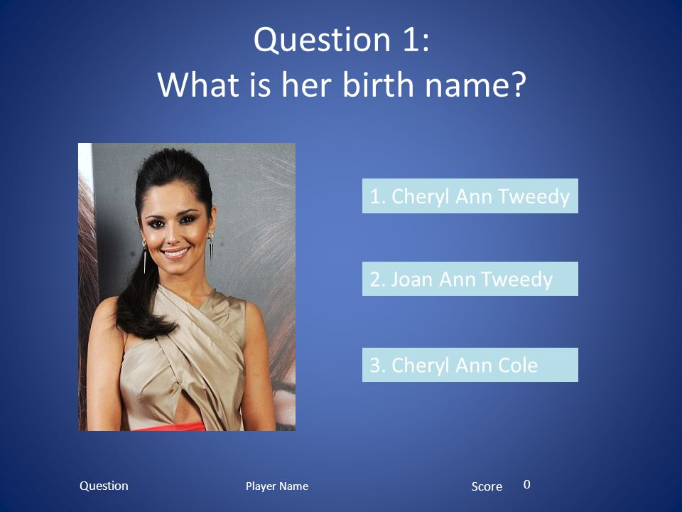 Question 1: What is her birth name? 1. Cheryl Ann Tweedy 2. Joan Ann Tweedy 3. Cheryl Ann Cole Question Score 0 Player Name