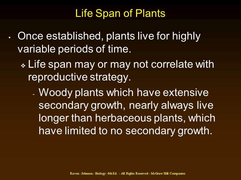 Raven - Johnson - Biology: 6th Ed. - All Rights Reserved - McGraw Hill Companies Life Span of Plants Once established, plants live for highly variable