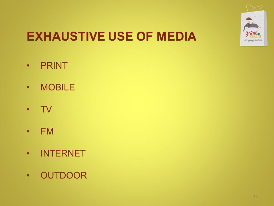 EXHAUSTIVE USE OF MEDIA PRINT MOBILE TV FM INTERNET OUTDOOR 15