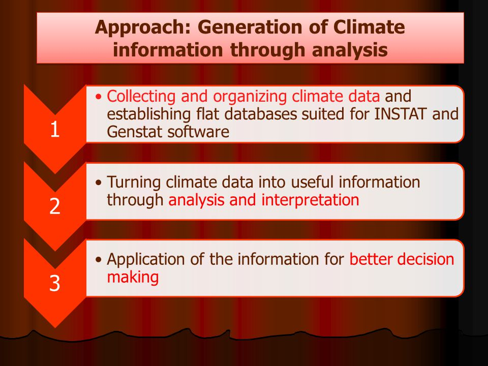 1 Collecting and organizing climate data and establishing flat databases suited for INSTAT and Genstat software 2 Turning climate data into useful inf