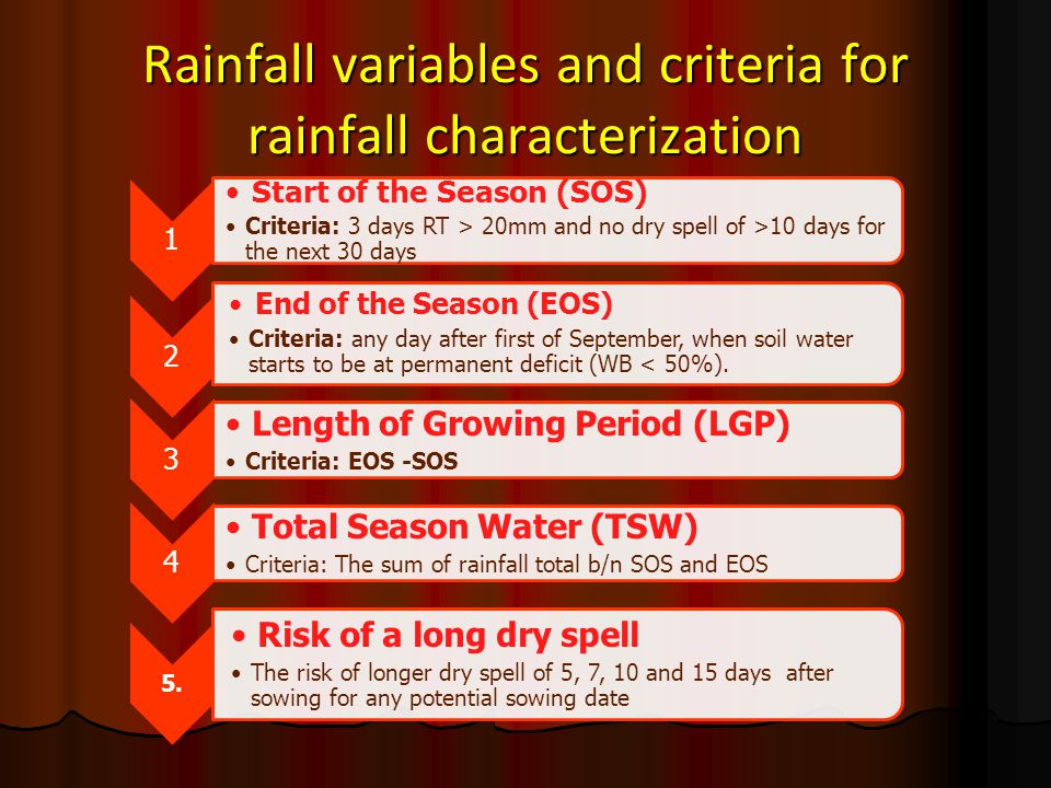 Rainfall variables and criteria for rainfall characterization 1 Start of the Season (SOS) Criteria: 3 days RT > 20mm and no dry spell of >10 days for
