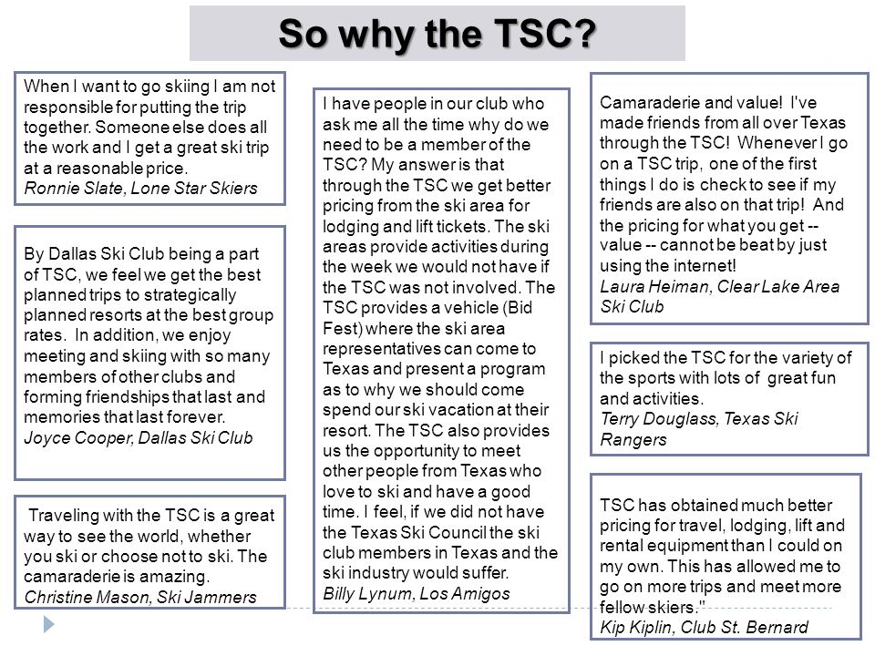 So why the TSC.