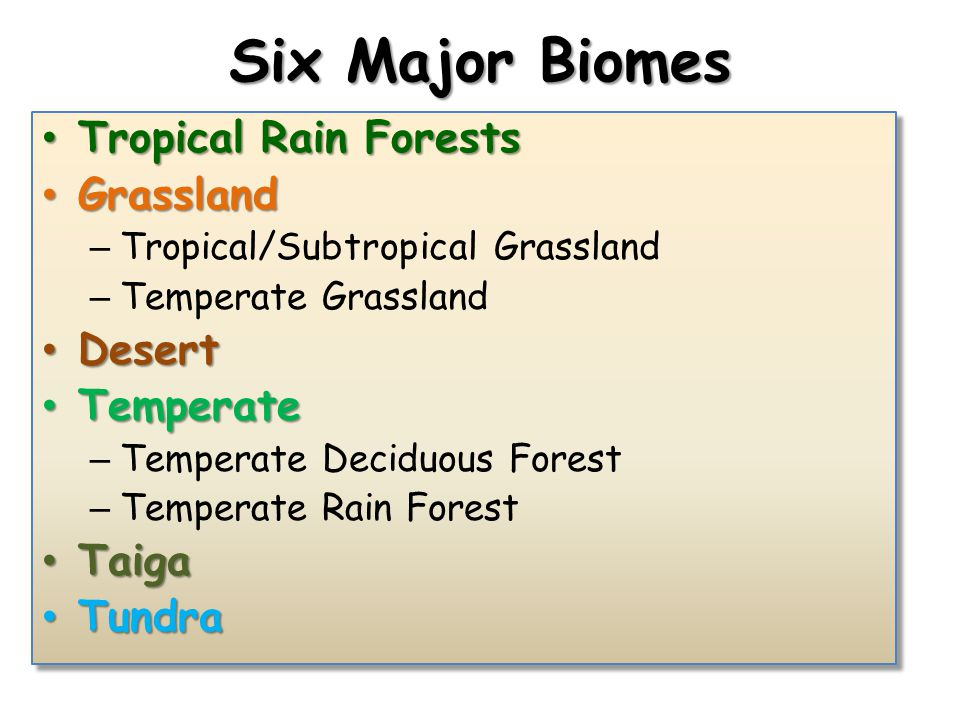 Six Major Biomes Tropical Rain Forests Tropical Rain Forests Grassland Grassland – Tropical/Subtropical Grassland – Temperate Grassland Desert Desert Temperate Temperate – Temperate Deciduous Forest – Temperate Rain Forest Taiga Taiga Tundra Tundra Tropical Rain Forests Tropical Rain Forests Grassland Grassland – Tropical/Subtropical Grassland – Temperate Grassland Desert Desert Temperate Temperate – Temperate Deciduous Forest – Temperate Rain Forest Taiga Taiga Tundra Tundra