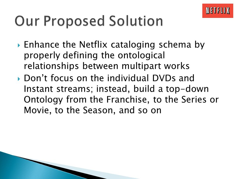 Enhance the Netflix cataloging schema by properly defining the ontological relationships between multipart works Dont focus on the individual DVDs and Instant streams; instead, build a top-down Ontology from the Franchise, to the Series or Movie, to the Season, and so on