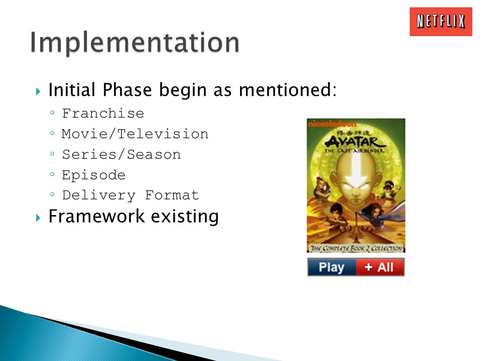 Initial Phase begin as mentioned: Franchise Movie/Television Series/Season Episode Delivery Format Framework existing