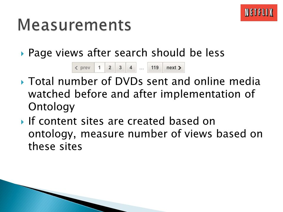 Page views after search should be less Total number of DVDs sent and online media watched before and after implementation of Ontology If content sites are created based on ontology, measure number of views based on these sites