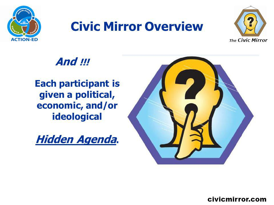The Civic Mirror civicmirror.com Civic Mirror Overview And !!! Each participant is given a political, economic, and/or ideological Hidden Agenda.