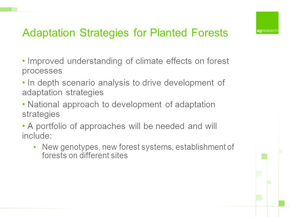 Adaptation Strategies for Planted Forests Improved understanding of climate effects on forest processes In depth scenario analysis to drive developmen