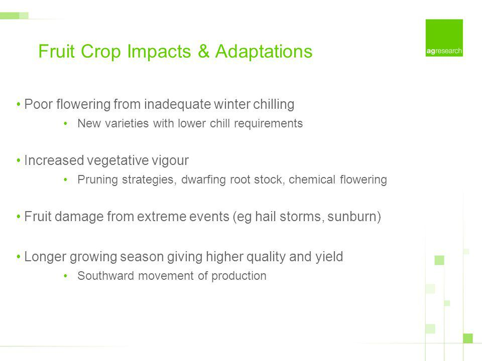 Fruit Crop Impacts & Adaptations Poor flowering from inadequate winter chilling New varieties with lower chill requirements Increased vegetative vigour Pruning strategies, dwarfing root stock, chemical flowering Fruit damage from extreme events (eg hail storms, sunburn) Longer growing season giving higher quality and yield Southward movement of production