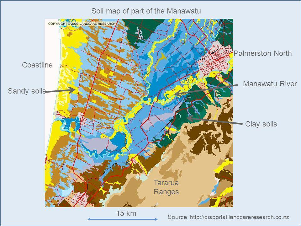 Palmerston North Manawatu River Coastline Sandy soils Clay soils 15 km Tararua Ranges Soil map of part of the Manawatu Source: http://gisportal.landcareresearch.co.nz