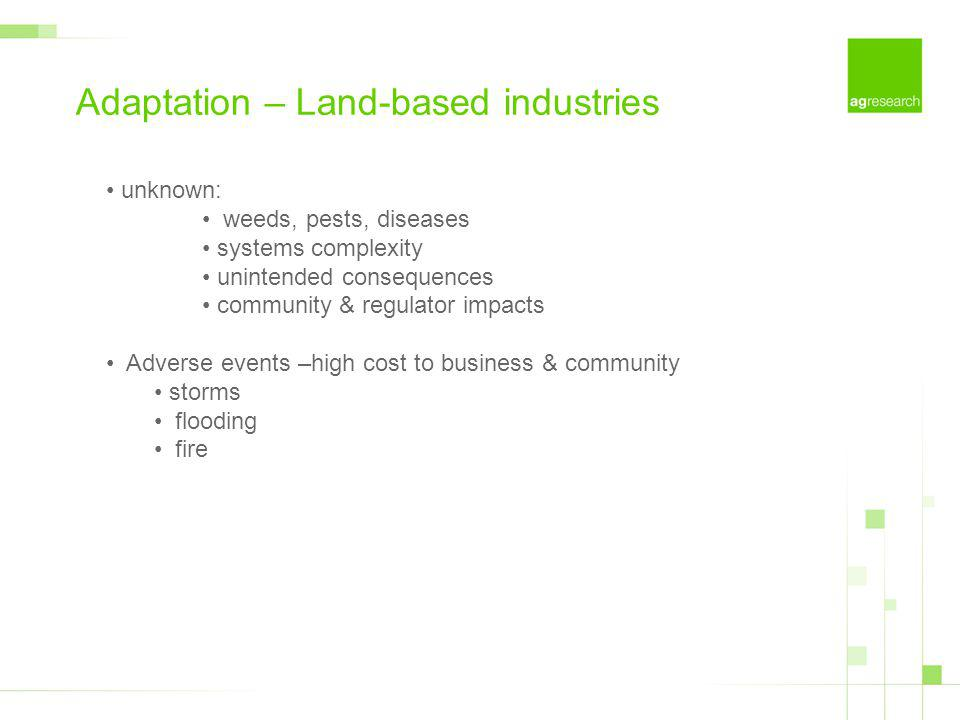 Adaptation – Land-based industries unknown: weeds, pests, diseases systems complexity unintended consequences community & regulator impacts Adverse events –high cost to business & community storms flooding fire