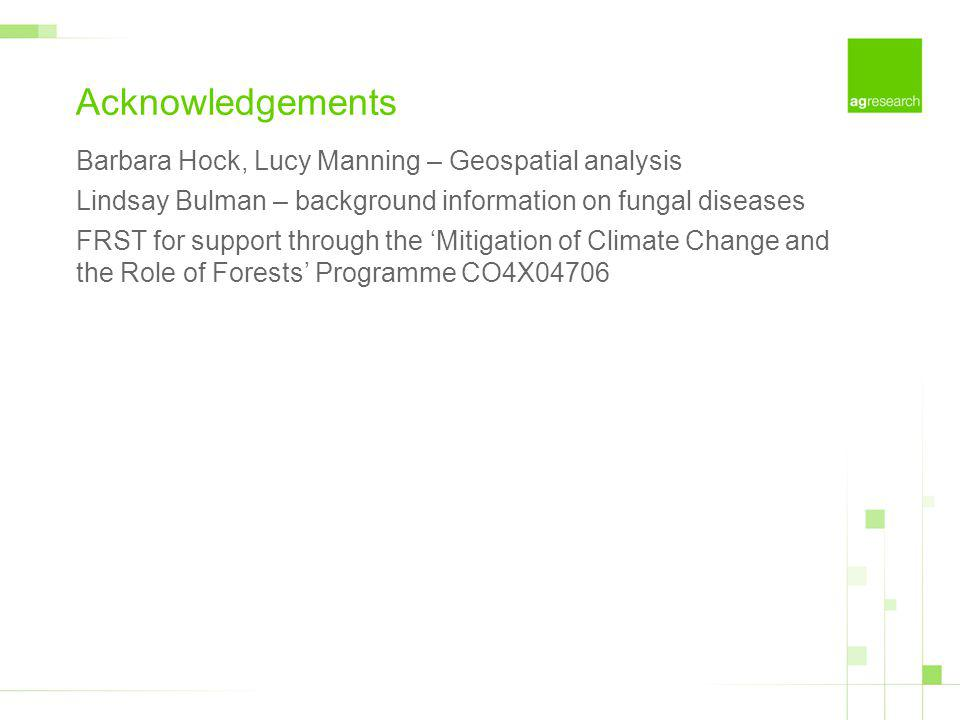 Acknowledgements Barbara Hock, Lucy Manning – Geospatial analysis Lindsay Bulman – background information on fungal diseases FRST for support through