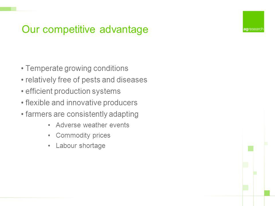Our competitive advantage Temperate growing conditions relatively free of pests and diseases efficient production systems flexible and innovative producers farmers are consistently adapting Adverse weather events Commodity prices Labour shortage