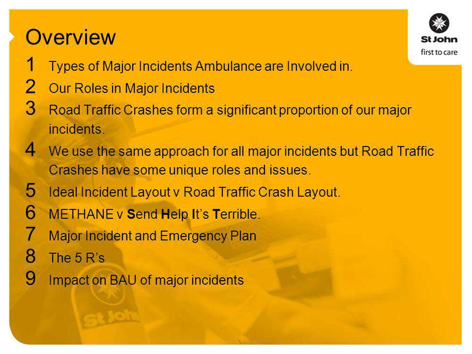 Overview 1 Types of Major Incidents Ambulance are Involved in.