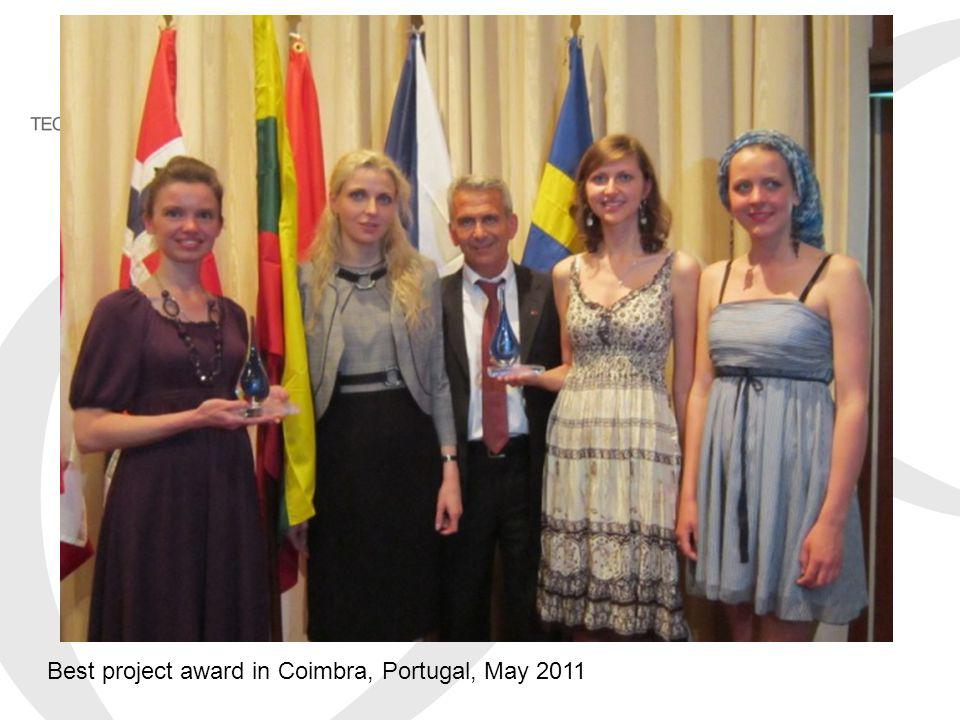 Best project award in Coimbra, Portugal, May 2011