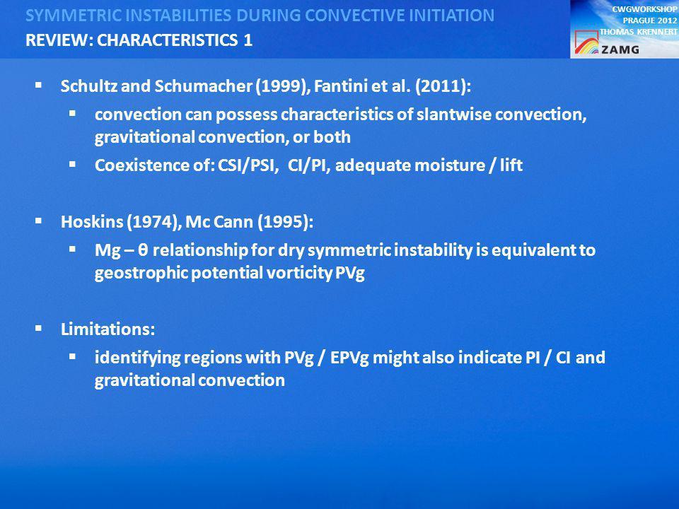 CWGWORKSHOP PRAGUE 2012 THOMAS KRENNERT SYMMETRIC INSTABILITIES DURING CONVECTIVE INITIATION Schultz and Schumacher (1999), Fantini et al.