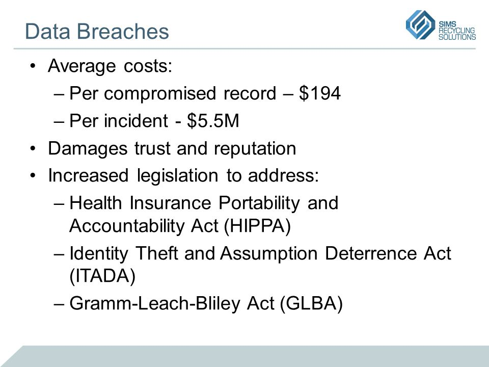 Data Breaches Average costs: –Per compromised record – $194 –Per incident - $5.5M Damages trust and reputation Increased legislation to address: –Health Insurance Portability and Accountability Act (HIPPA) –Identity Theft and Assumption Deterrence Act (ITADA) –Gramm-Leach-Bliley Act (GLBA)