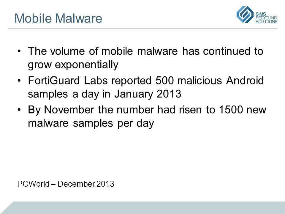 Mobile Malware The volume of mobile malware has continued to grow exponentially FortiGuard Labs reported 500 malicious Android samples a day in January 2013 By November the number had risen to 1500 new malware samples per day PCWorld – December 2013