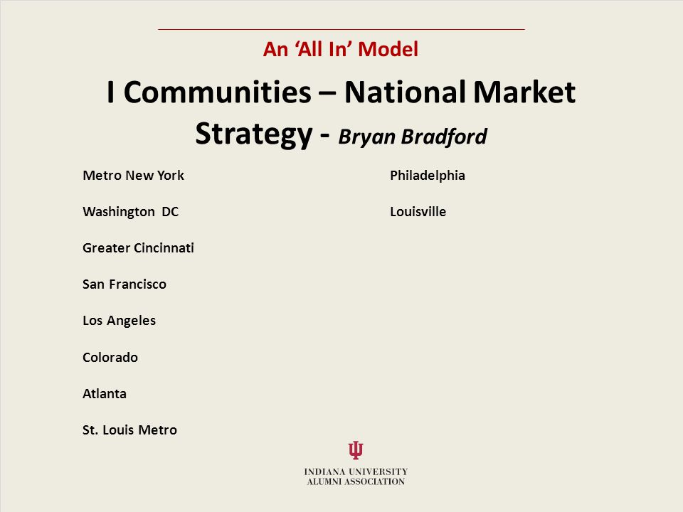 An All In Model I Communities – National Market Strategy - Bryan Bradford Metro New YorkPhiladelphia Washington DCLouisville Greater Cincinnati San Francisco Los Angeles Colorado Atlanta St.