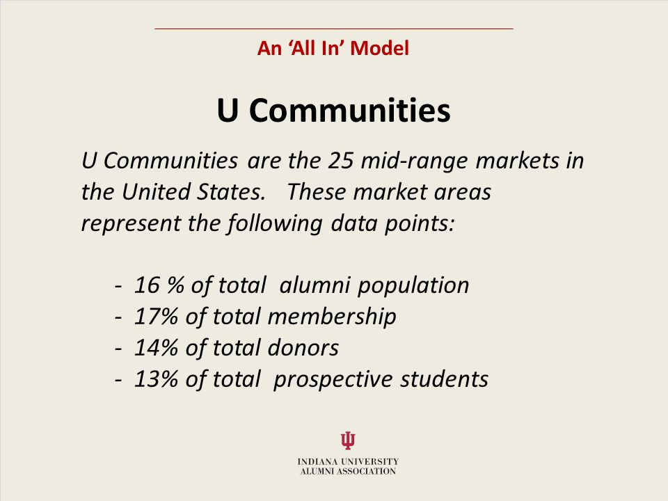 An All In Model U Communities U Communities are the 25 mid-range markets in the United States.