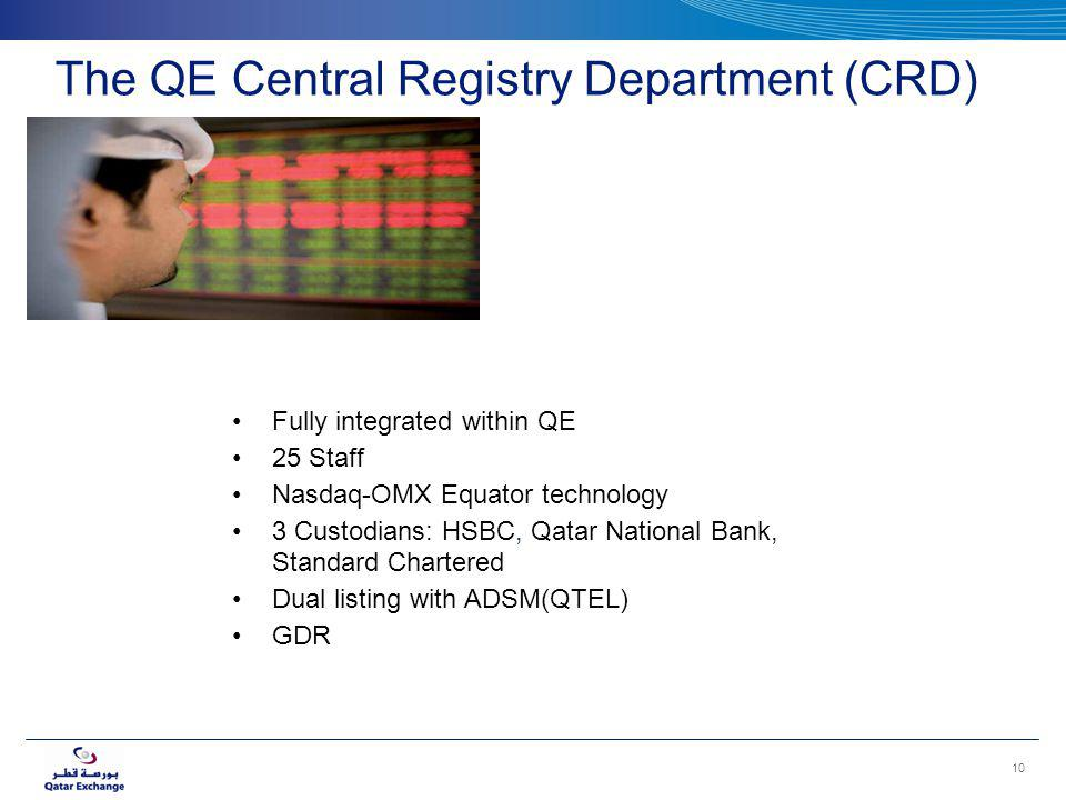 The QE Central Registry Department (CRD) Fully integrated within QE 25 Staff Nasdaq-OMX Equator technology 3 Custodians: HSBC, Qatar National Bank, Standard Chartered Dual listing with ADSM(QTEL) GDR 10