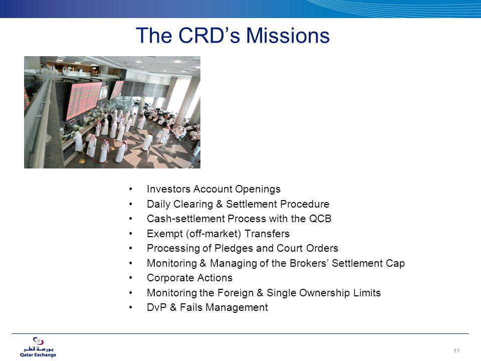 The CRDs Missions Investors Account Openings Daily Clearing & Settlement Procedure Cash-settlement Process with the QCB Exempt (off-market) Transfers