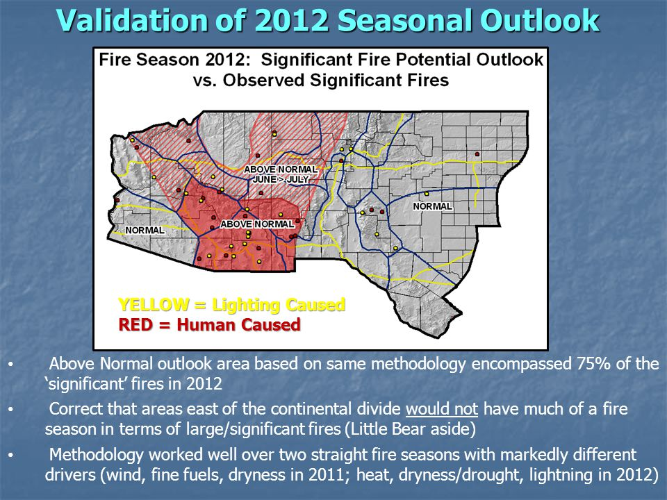 Validation of 2012 Seasonal Outlook Above Normal outlook area based on same methodology encompassed 75% of the significant fires in 2012 Correct that areas east of the continental divide would not have much of a fire season in terms of large/significant fires (Little Bear aside) Methodology worked well over two straight fire seasons with markedly different drivers (wind, fine fuels, dryness in 2011; heat, dryness/drought, lightning in 2012) YELLOW = Lighting Caused RED = Human Caused