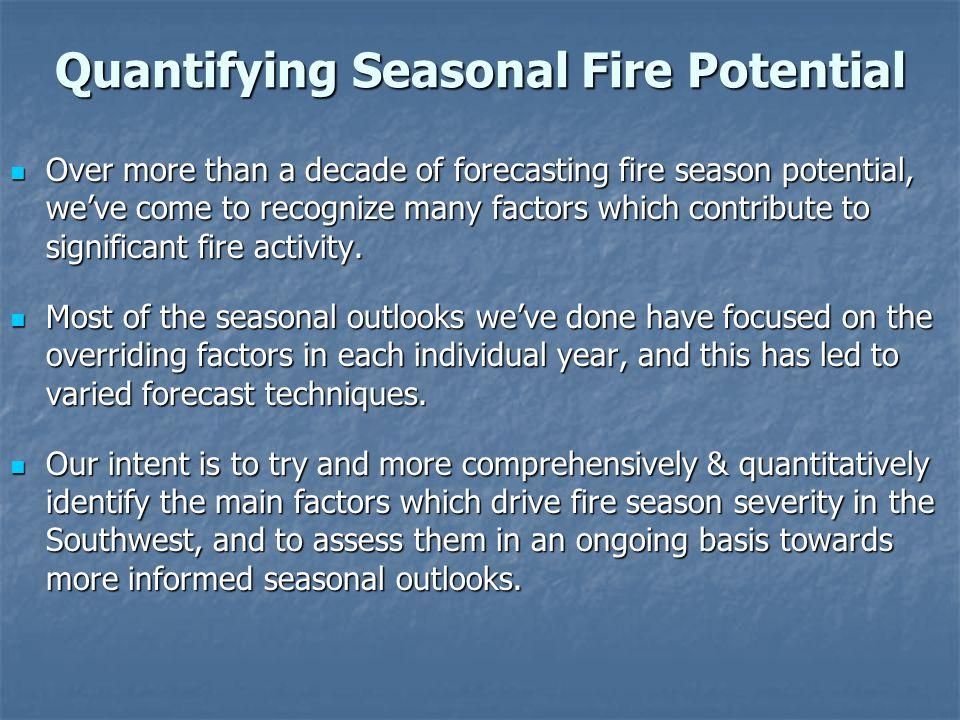 Seasonal Fire Potential Main Factors 1.Drought 2.